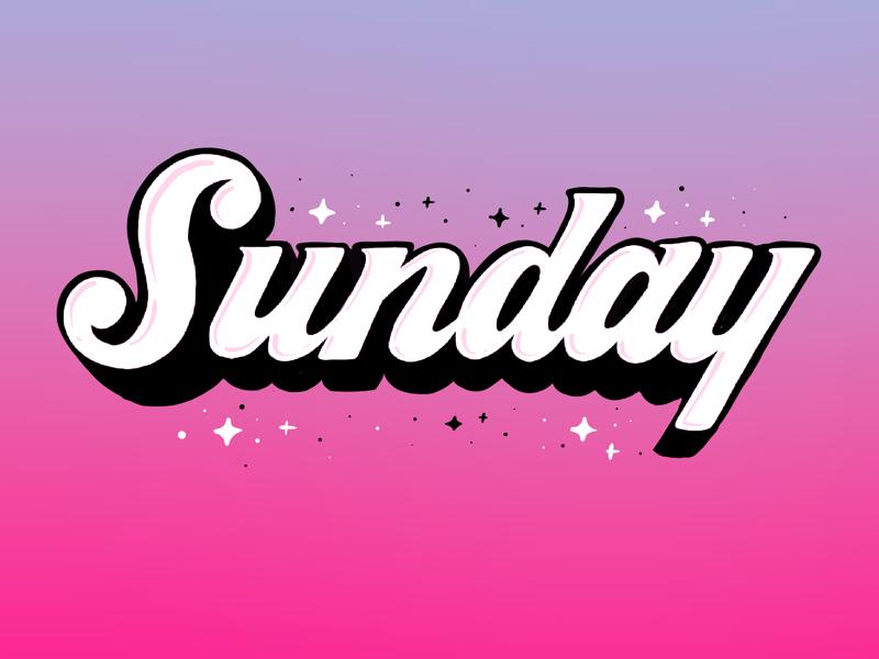 Happy Sunday! logotype word mark cursive script type illustration gradient typography lettering hand lettering