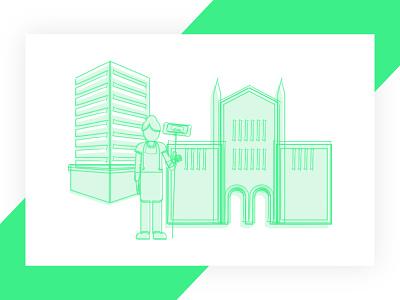 Buildings buildings line drawing illustration