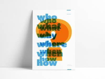 Who What Where When How agile typeography poster