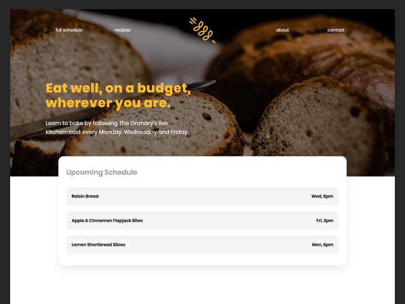 The Granary Website baking cooking ux ui website the granary