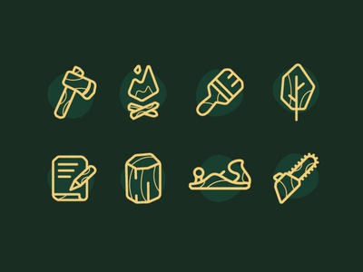 Northern Wood Co - Icons lumber log icons iconography icon wood branding