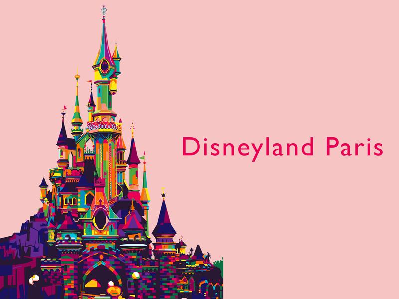 Disneyland Paris WPAP style colorful disney art disney europe paris disneyland design artwork art wpap popart illustration