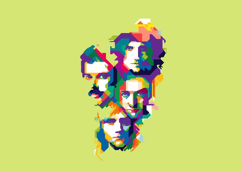 Queen bohemian rhapsody england musician music band queen colorful design artwork art popart illustration