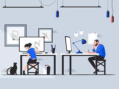Creativity process 👨🏻💻👩🏻🎨😼 vector illustration