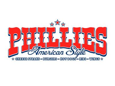 American Philly Cheesesteak Logo Design logotype lettering typogaphy illustration hotdogs foodvan foodstand food flat burgers cheesesteak phillies redwhiteandblue americana america american logo branding americana logo american logo