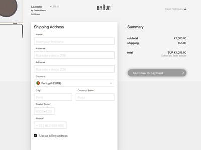 Checkout concept - Shipping step