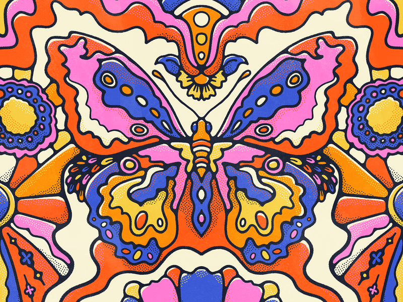 Beauty Reborn halftone john acorn john acorn butterfly vintage illustration retro procreate pattern art floral flat illustration colorful colors bold 70s