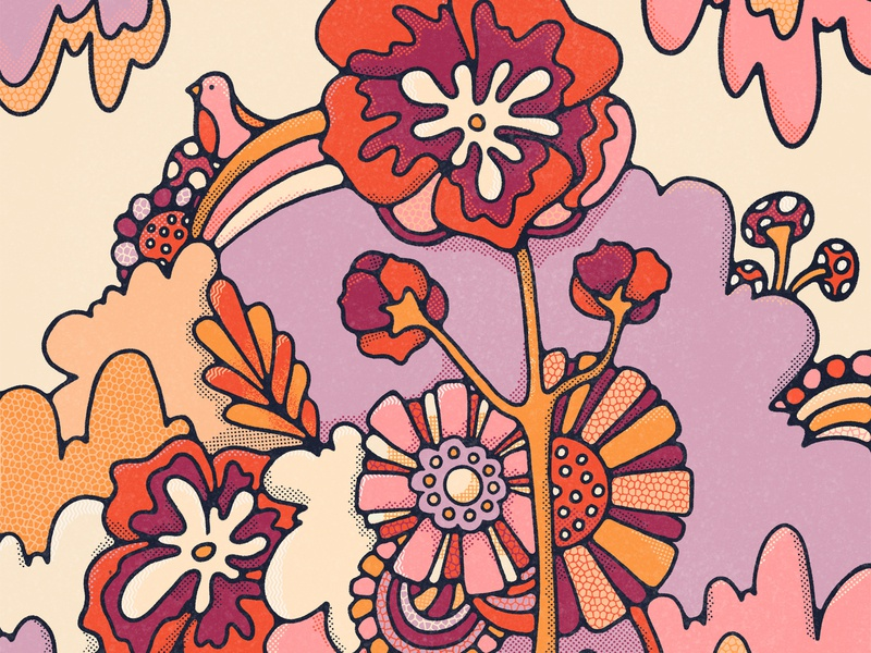 Boho Botanica surface pattern art licensing surface design bird illustration graphic artist wildflowers 70s john acorn halftone procreate colorful botanical illustration boho floral art pattern vintage illustration
