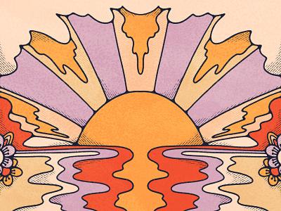 As the sun sets illustration design flashback art 1970s retro illustration sunset psychedelic 70sdesign 70s inspired bold colors john acorn halftone doodle illustration vintage illustration colorful 70s flat illustration procreate