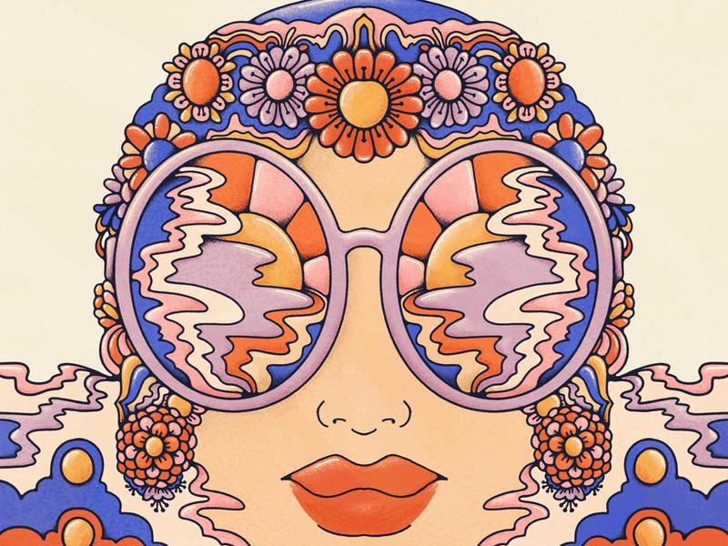 Submerge beautifulchaos 1970s psychedelic submerge swim bather retro illustration retro stipple john acorn floral art pattern 70s vintage illustration graphic design colorful flat illustration procreate