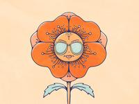 BadAss Poppy flower badass livelyscout character poppy tall poppy retro 70s vintage illustration flat illustration floral art doodle illustration colorful procreate
