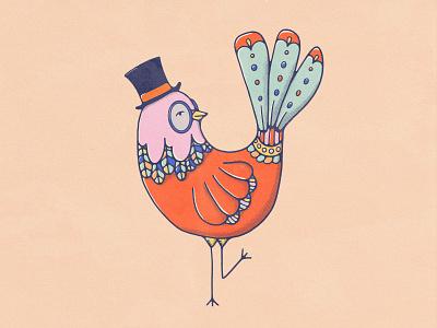 Tail Feathers childrens illustration character design livelyscout john alcorn retro retro design tophat bird art bird illustration bold colors doodle 70s procreate illustration vintage illustration