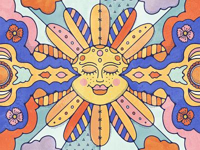 Little Rae of Sunshine linework livelyscout vintagesun sun halftone johnalcorn goodvibes sunshine flat illustration retro pattern 70s vintage illustration procreate