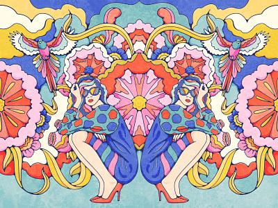 Kaleidoscopic psychedelic popsurrealism surreal blooms portrait bird illustration florals symmetry kaleidoscope fashionillustration bold colors vintage illustration