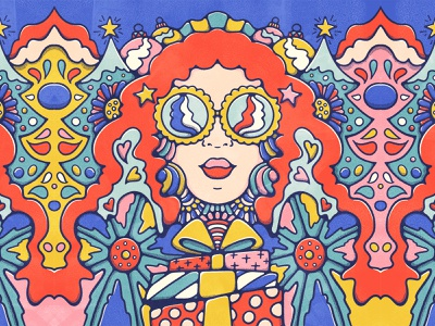 Have a Groovy Christmas Baby groovy john alcorn petermax baubles christmas tree festive christmas retro psychedelic livelyscout floral graphic design bold colors procreate doodle 70s vintage illustration