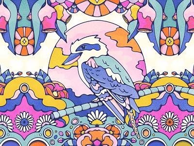 Kookaburra Kaleidoscope flowers australia psychedelic art halftone bird illustration livelyscout graphic design illustration doodle colorful 70s procreate kookaburra kaleidoscope