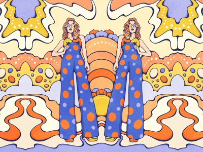 Twinning texture groovy psychedelic portrait fashion twins cosmic retro illustration colorful 70s vintage illustration procreate