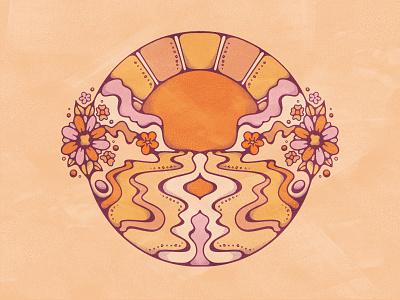 Byron Bay Bliss vintage color golden sun ocean flowers psychedelic byronbay sketch boho 60s colorful retro flat illustration illustration 70s vintage illustration procreate