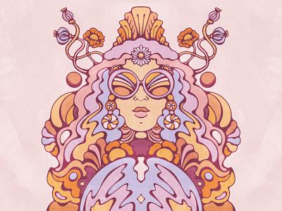 Mystic Woman texture true grit mystical woman portrait psychedelic 60s procreate illustration retro 70s vintage illustration