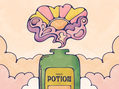 Magic Potion stipple texture john alcorn nature drink green bottle potion magic graphic illustration livelyscout groovy art psychedelic sun flat illustration retro illustration 70s vintage illustration procreate