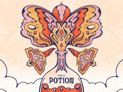 Magic Potion No.2 stipple psychedelic remedy john alcorn nature potion magic bottle birds groovy design flat illustration retro colorful illustration 70s vintage illustration procreate