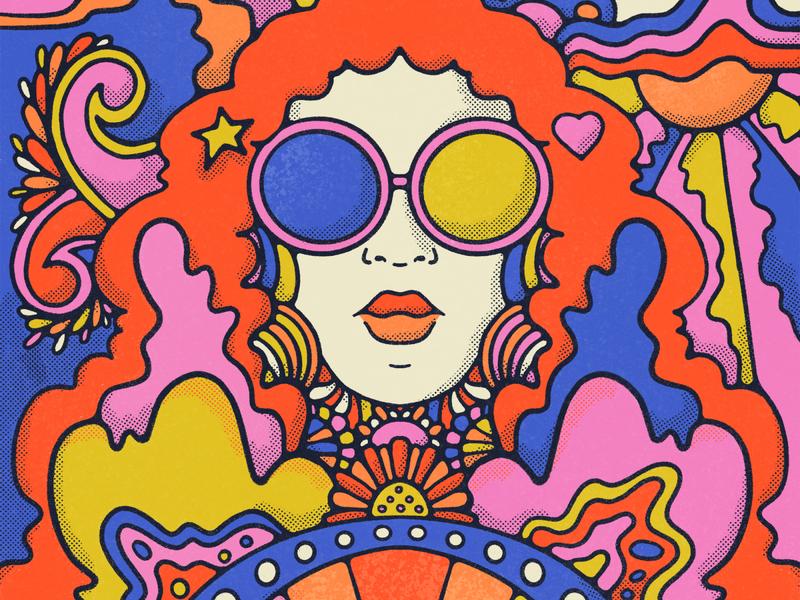 flashback 70s pattern vintage illustration retro colorful procreate floral art flat illustration bold colors