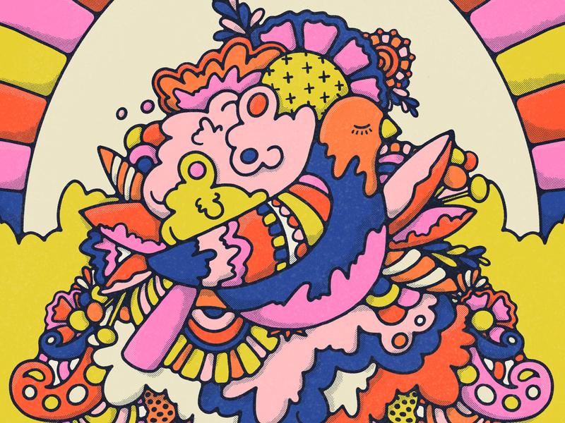 Bower Bird halftone bowerbird doodle colorful procreate art ipadproart graphic design hippie bird illustration peace pattern vintage illustration botanical illustration 70s procreate floral art flat illustration bold colors