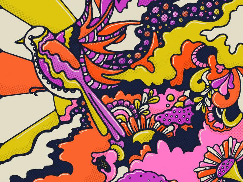 Flight Cancelled halftones fail process purple bright flower illustration artist orange pink bold colors doodle 70s flat illustration bird illustration floral art procreate illustration colorful
