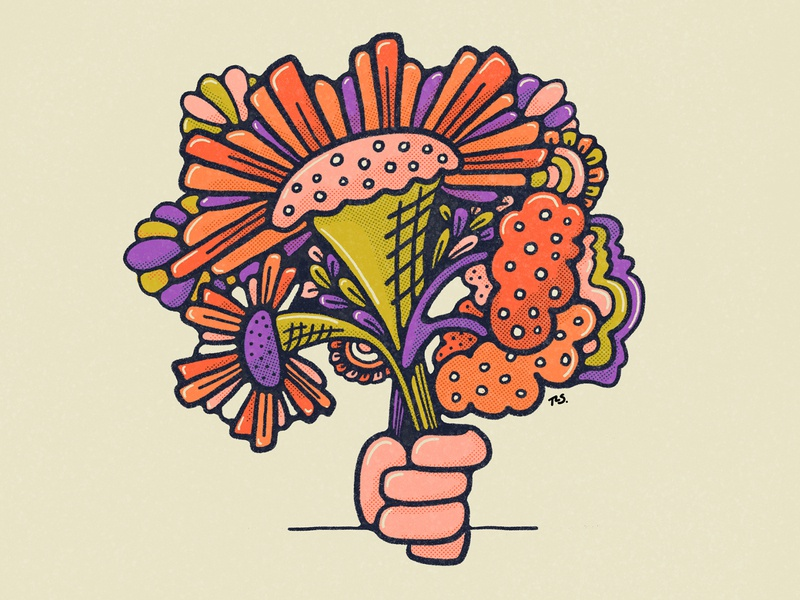 Just For You giving doodle daily sketch bold color bright colors flowers graphic design illustration procreate flat illustration floral illustration bouquet