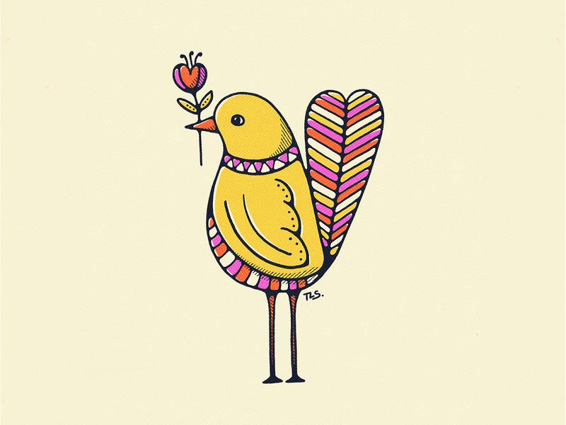 Birds Bearing Gifts (Part 1) pattern artist doodle colorful graphic design vintage illustration illustration 70s procreate flat illustration bird illustration