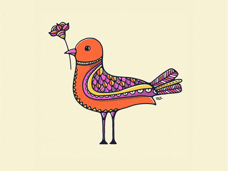 Birds Bearing Gifts (Part2) bird illustration graphic design vintage illustration pattern doodle illustration bold colors 70s procreate flat illustration