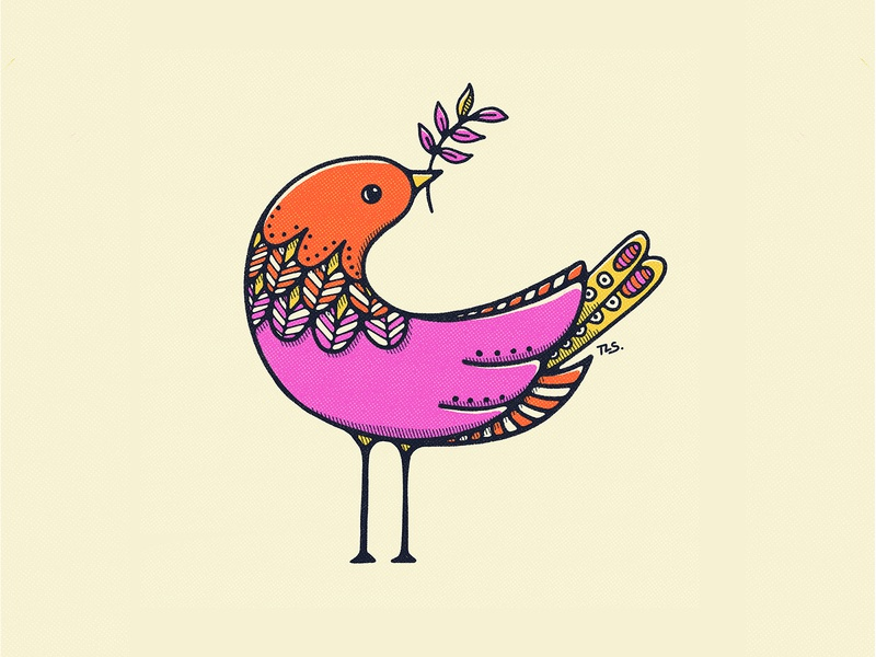 Birds Bearing Gifts (Part 3) doodle graphic design botanical illustration vintage illustration illustration colorful bold colors 70s procreate flat illustration