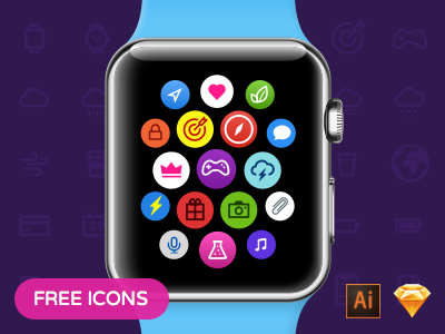 Free Watchicons icon-pack smart watch apple design free icons ux ui
