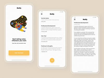Notify - Mobile #1 minimalism ui design text list typogaphy note notes app notes illustraion app design app application mobile clean uiux ui  ux ui design
