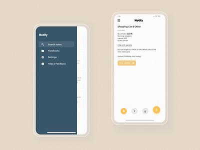 Notify - Mobile  #2 uiuix uiux uidesign ui typography notes app notes note mobile material minimalism texture design clean application app design app