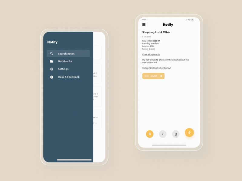 Notify - Mobile  #2 uiuix uiux uidesign ui typography notes app notes note mobile material minimalism texture design clean application app design app