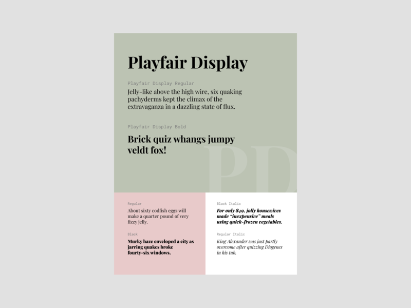 Playfair Display template playfair display typogaphy font