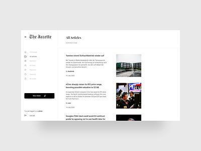 The Jazette - Admin Panel article list articles panel admin panel admin ui clean design ui design minimalism