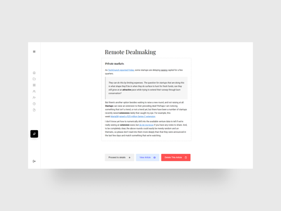 Article Editorial Page create article editorial admin newsletter typography clean ui design ui design minimalism minimal news