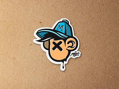 NoFace graffiti blue illustration youth cap design mro2 character noface