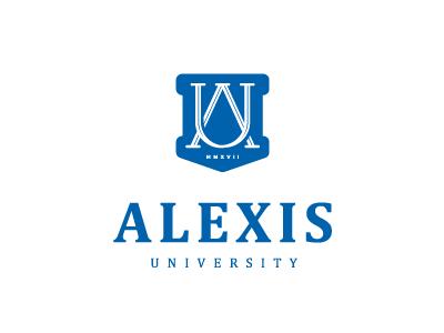Alexis University crest u a leters sign signum logo college university