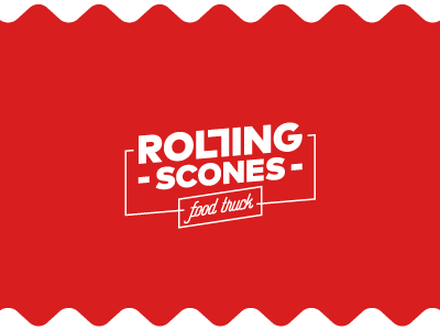 Rolling Scones sign simple typography sale fine rolling scones logo truck food day