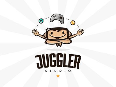 Juggler Studio kids mascot play funny juggler store studio service logo arcade game video