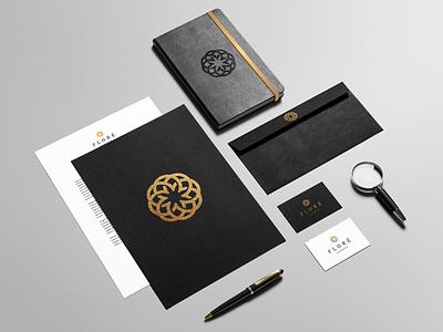 Floré simple clear elegant identity company branding design logo flower flore