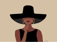 Lady In Black Flat Illustration