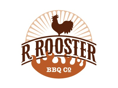 R. Rooster BBQ Co. Final Logo barbecue bbq restaurant catering r. rooster rooster monogram logo logo design black comb beak r fire rays crowing