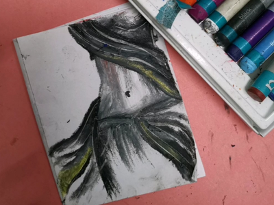 Sensuality figures art freehand oil pastels