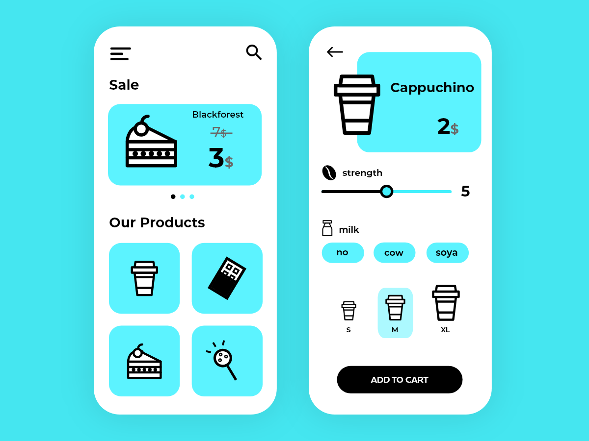 Cafe shop app cake food coffee blue interface shop flat design minimal clean adobexd vector web illustration icon iphone ios mobile ui ux