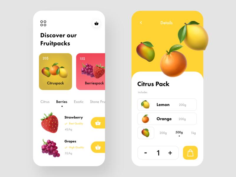 Fruit Shop fruit fruits simple shop interface flat minimal clean dribbble design app vector web illustration icon iphone ios mobile ux ui