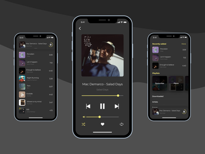Daily UI #009 - Music Player yellow responsive layout mobile interface dashboad music player player music grey website design website web ux dailyui design app ui